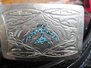 Indianerschmuck - Gürtel,  Conchas,  Silber - Buckle Mit Türkis Chip - Inlay,  Thunderbird Bild