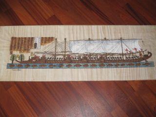 Ägypten,  Orig.  Zeichnung Auf Papyrus,  Koloriert,  Schiffsmotiv Und Hieroglyphen Bild