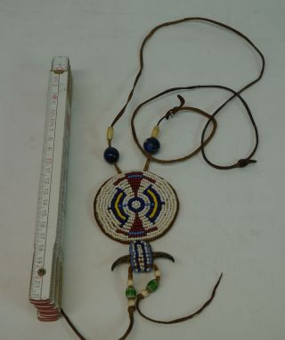 Old Indian Jewelry - Alter Indianer Schmuck - Bein Glasperlen - Halskette Bild