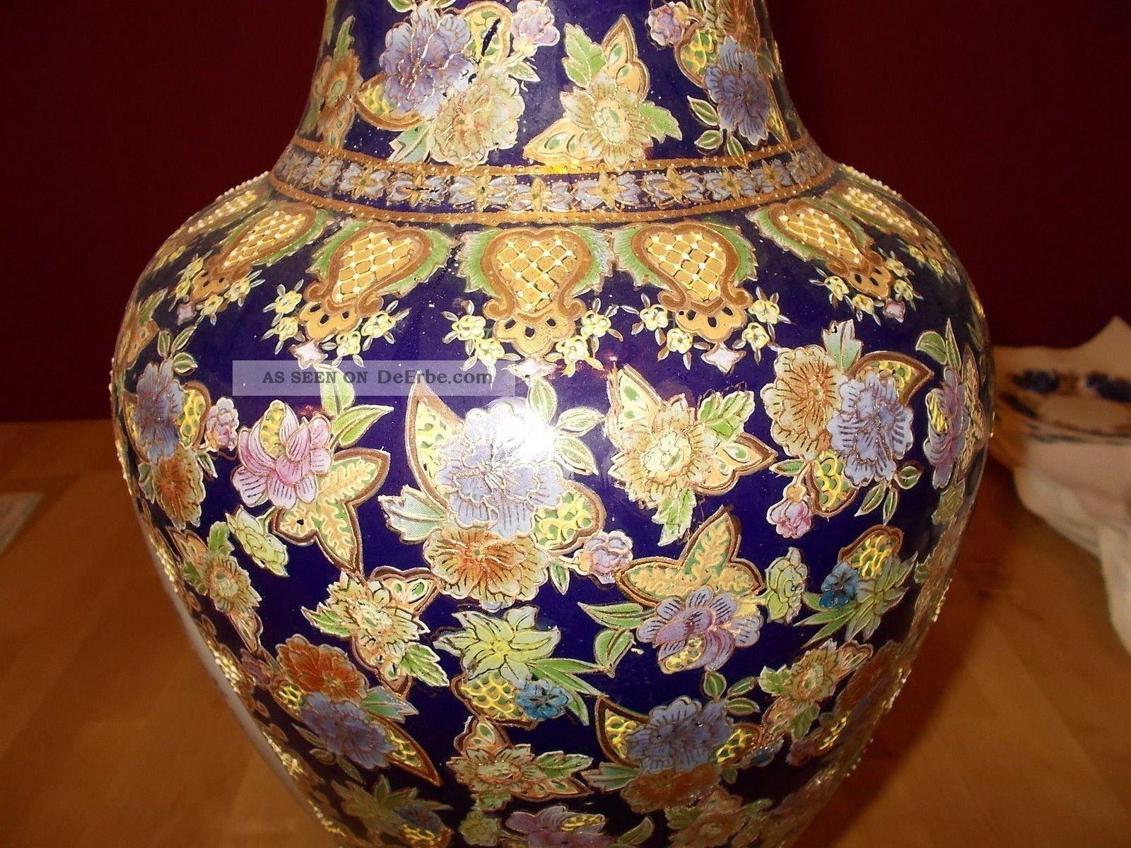 ausgefallene chinesische bodenvase vase viel gold auf kobaltblau handbemalt. Black Bedroom Furniture Sets. Home Design Ideas