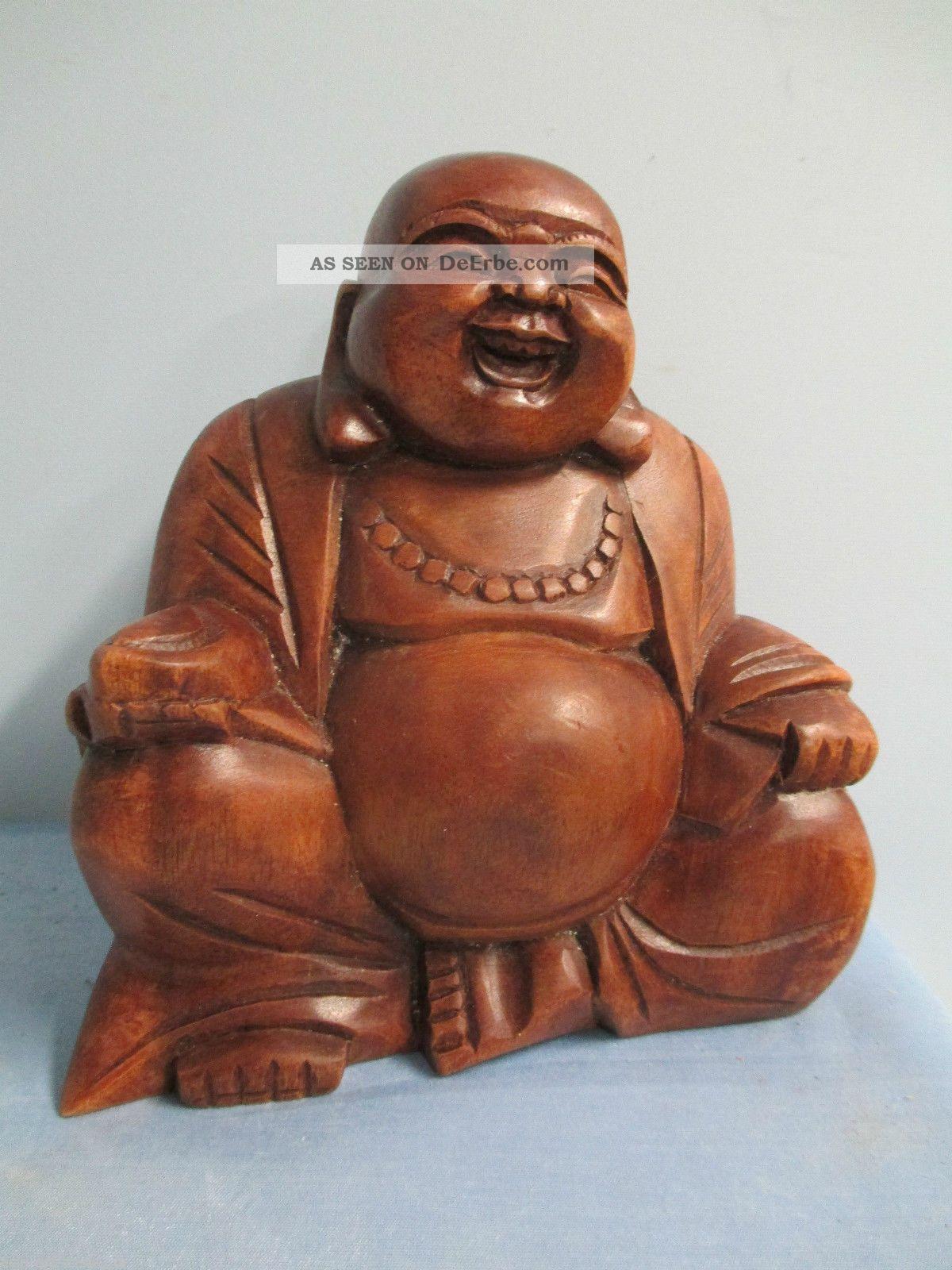 happy buddha figur holz kunst skulptur deko m bel feng shui lifestyle monk 41982. Black Bedroom Furniture Sets. Home Design Ideas