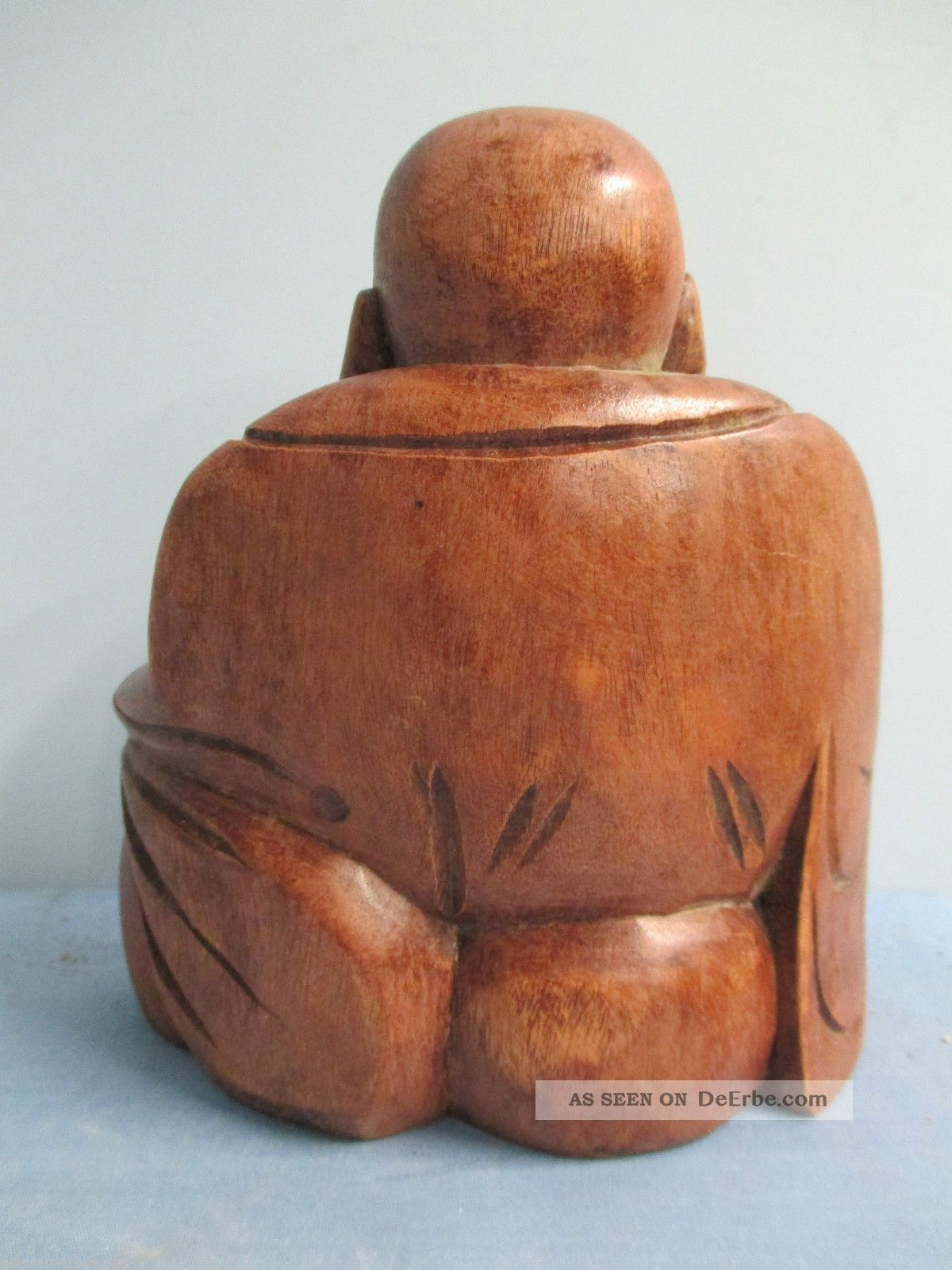 Happy buddha figur holz kunst skulptur deko m bel feng for Buddha figur holz