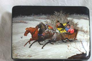 Wunderschöne Russische Lackdose - Troika - Motiv - Signiert 1920 Bild