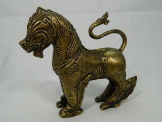 Tempellöwe Aus Messing Bronze Fo - Hund Wächterlöwe Höhe 11,  9 Cm China 20.  Jhd. Bild