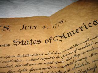 Unabhängigkeitserklärung Der Usa 4.  Juli 1776,  Reproduktion,  Großformatig Bild