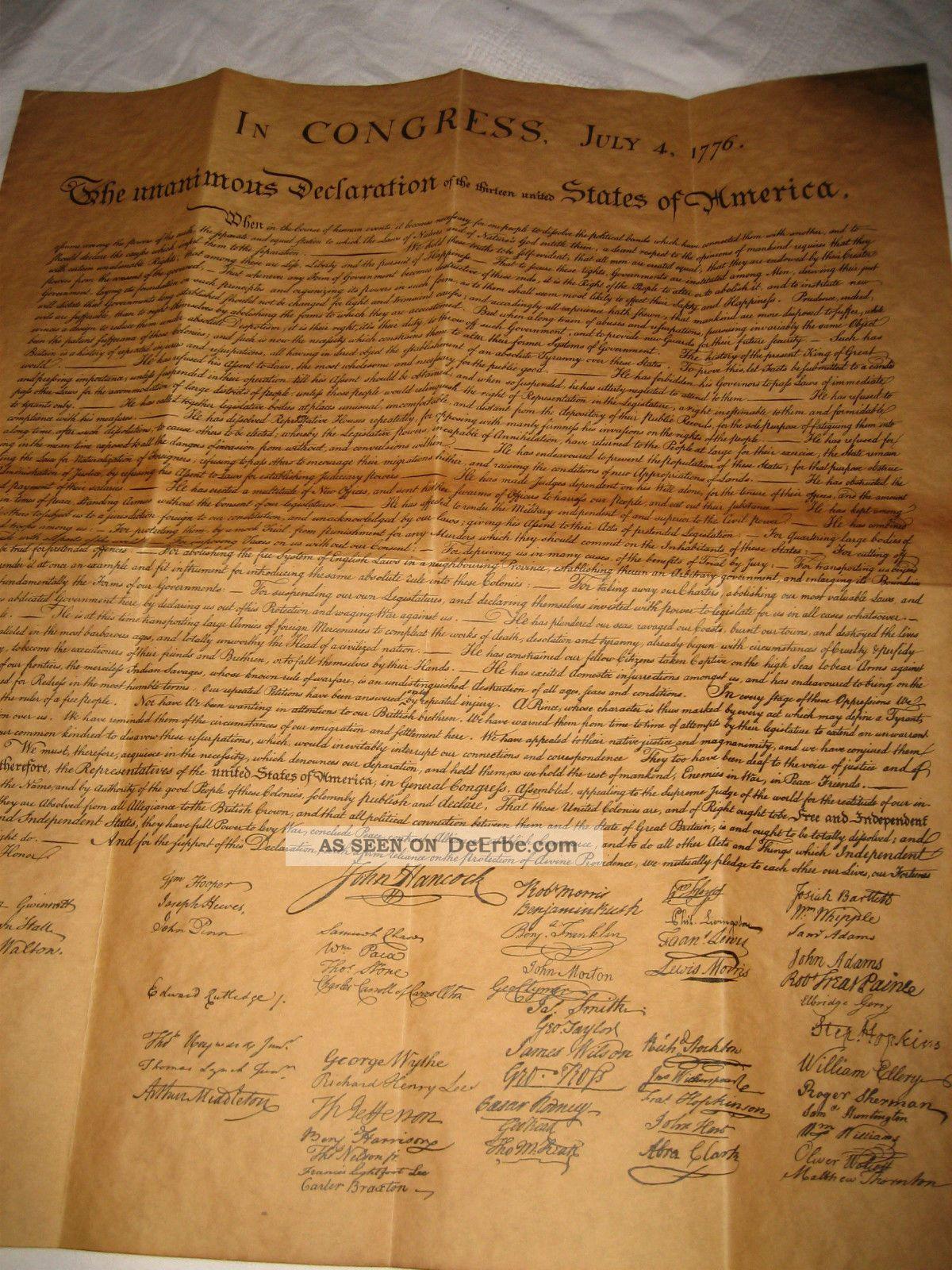 Us Unabhängigkeitserklärung