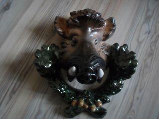 Grosser Wildschwein Keramik Kopf Wandrelief Aus Nachlass Selten Bild