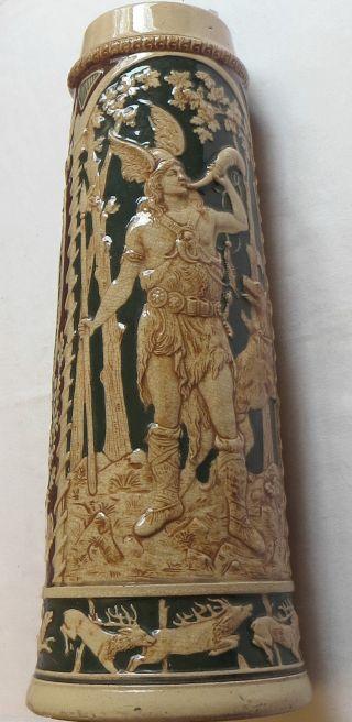 Jagdlicher Traditionskrug / Keramik Mit Spruch,  Um 1880,  H.  38 Cm Bild