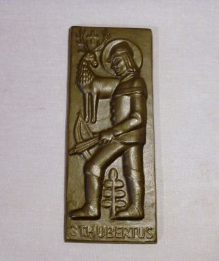 Jäger Plakette St.  Hubertus Hirsch Schaede Eisenguss Bild
