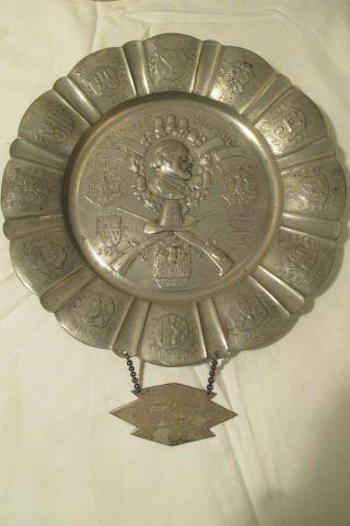 Deutscher Schützenbund Schützenverein Jagd 1940 Ehrenteller Zinn / Silber Bild