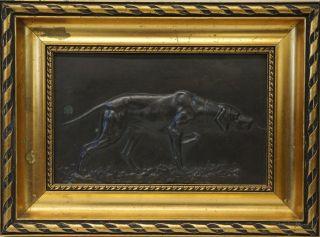 Jagdhund Bronze Relief Bild - Im Goldrahmen - Antik Um 1920 Weimaraner N 1 Bild