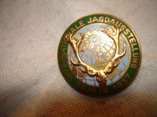 Jagdabzeichen 3.  Reich Jagdausstellung Berlin Email Medaille Geweih Messing Jagd Bild