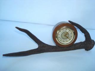Uhr Auf Geweih Horn Jägerutensil Für Den Schreibtisch Bild