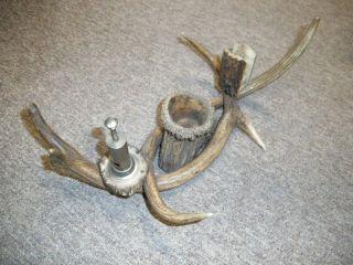 Geweih Gehörn Abwurfstange Aschenbecher Antik Raucherset Hirschhorn Kerzenhalter Bild
