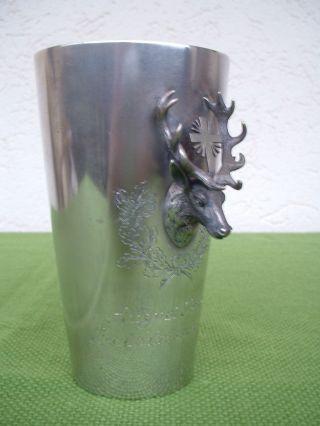 Alter Jagd - 800 Silberbecher Mit Plastischem Hirschkopf U.  Kreuz,  Wollenweber Bild