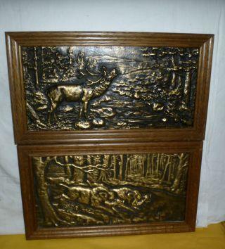 2 X Antike Bronze Um 1920 Jagdbild Relief Hirsch Keiler Ca.  10 Kg Meisterarbeit Bild