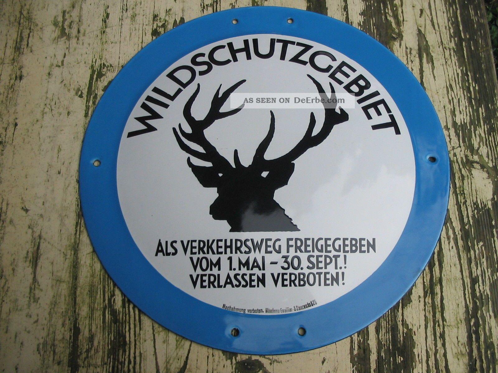 Altes Emailschild _ Wildschutzgebiet - Verkehrsweg Freigegeben _ Jagd & Fischen Bild