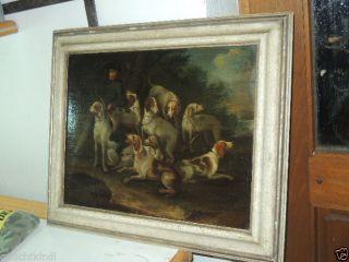 Altes Barockes Jagdgemälde Mit Hunden Um 1750 Bild