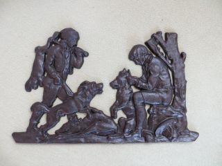 Gussbild Relief Jäger Mit Hunden Und Erlegtem Wild - Tolle Deko Bild