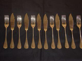 Silber 800,  645g.  Fischbesteck,  Dianapunze,  Fischmesser,  Fischgabel,  Jugendstil Bild