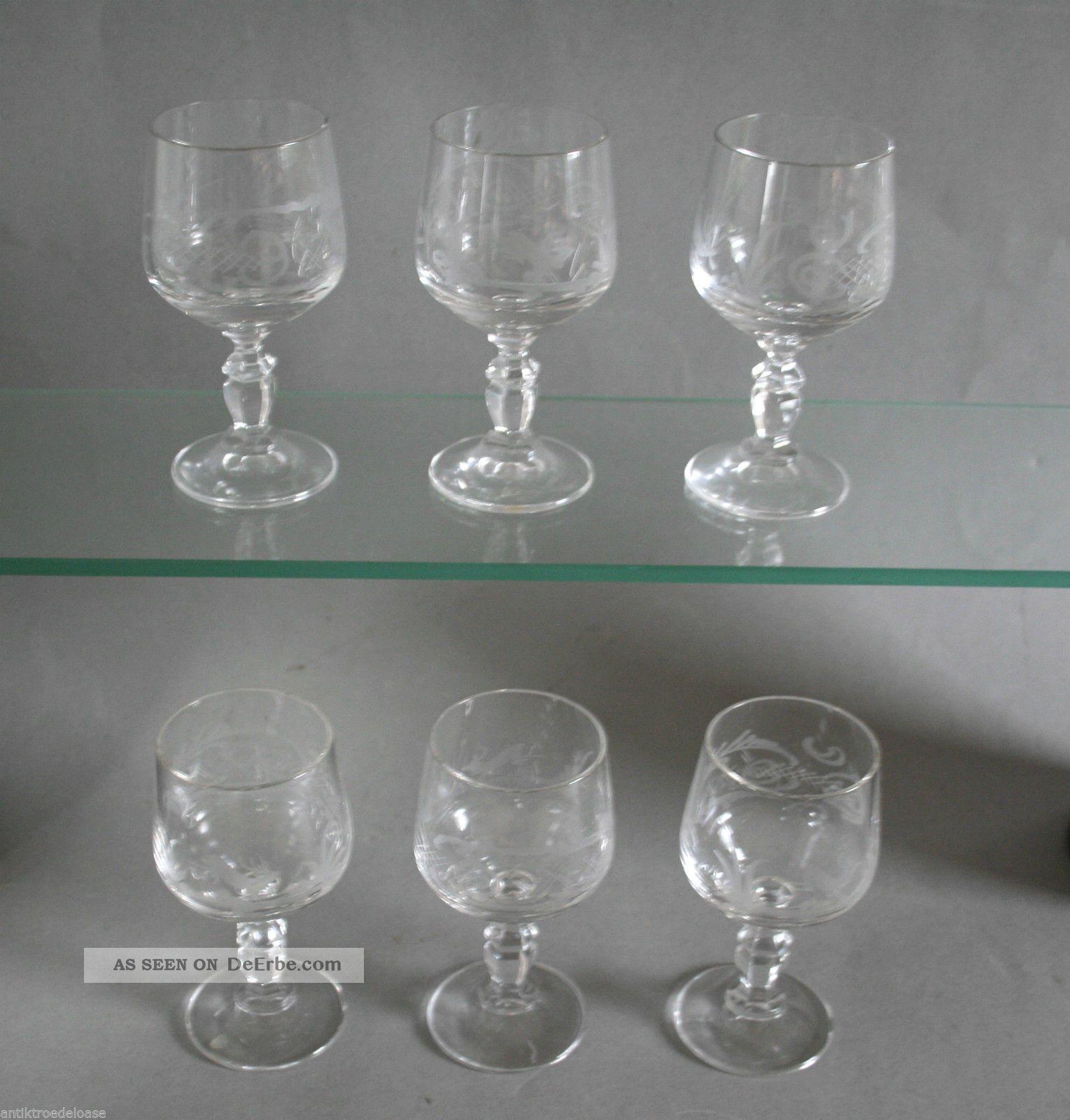 6x sherrygl ser sherry glas mit jagd motiv radschliff for Glas mit motiv