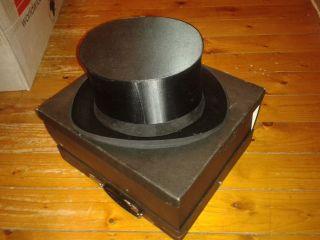 Antiker Klappzylinder Chapeau Claque Gr.  57 Cm Trempel Top,  Hutschachtel Bild