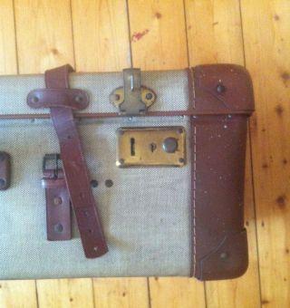 Antiker Koffer / Schalenkoffer Mit Leder | Vintage Ca 1930er / 1940er Jahre Bild