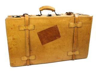 Ko33 Oldtimer Koffer Lederkoffer Koffer Braun Vintage 60 X 34 X 18 Mit Gurten Bild