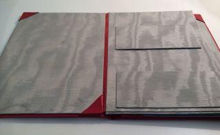 Schreibmappe Leder Rot Mit Moirefutter Und Fächern Bild
