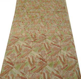 Vintage - Sari Aus Reiner Seide Stoff Braun Abstrakt Printed Indischen Sari Wrap H Bild