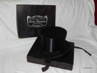 Vintage Falt Zylinder Chapeau Claque Klapphut Gr.  55 Mit Faltschachtel Bild