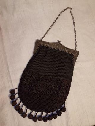 Antike Damen Handtasche Schwarz Jugendstil Kettentasche Trauerschmuck Gothic Bild