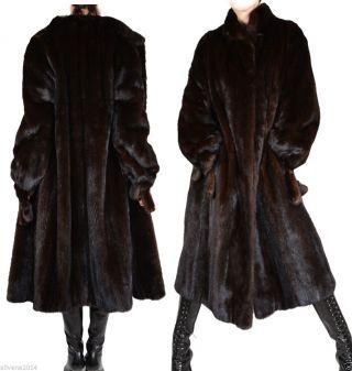 Saga Mink Nerz Nerzmantel Schwarz Lang Pelz Mink Coat Swinger Winter Jacke Fur Bild
