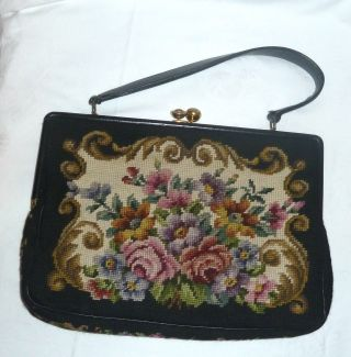 Sehr Große Handtasche Aus Gobelin Und Leder,  Toller Verschluss, Bild