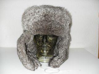 Tschapka,  Russische Pelzmütze,  Fell - Mütze,  Kaninchenfell,  Gr.  60,  Echt Vintage Bild
