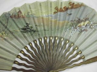 Hübscher Antiker Fächer - Handbemalt /lovely Antique Fan - Handpainted Bild