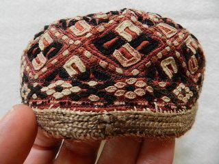 Antik Orient Torkman Hut Mütze Persien Islamic Embroidered Cap Seide Ca 80 Jahre Bild