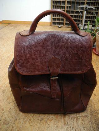 Alter Leder - Rucksack,  Gut Erhalten Und Schick Bild