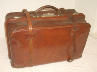 Leder Reisetasche - Reisekoffer Um 1920 Gearbeitet Bild