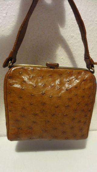 Antike Tasche - Echtes Straußenleder - Vor 1945 - Top Bild