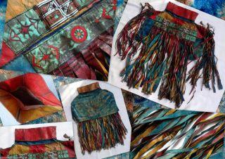 Tuareg Leder Folklore Tasche Nordafrika Xl - Fransen Malerei Unikat In Traumfarben Bild