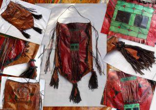 Tuareg Leder Folklore Beutel Nordafrika Fransen & Malerei Unikat In Traumfarben Bild