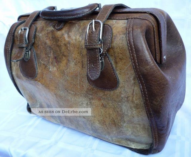 3168e1aa127a6 Vintage  Bügel - Reisetasche  Arzt - Koffer  Büffelleder pergament Von  Goldpfeil