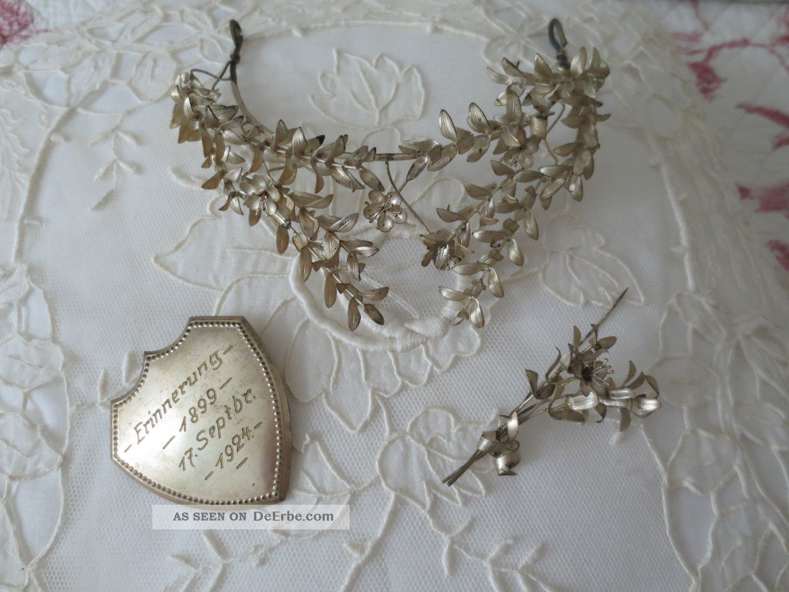 Brautkranz Braut - Krone Silberkrone Anstecker Shabby Frankreich ...