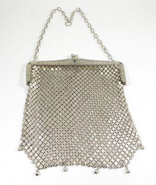 Echt Silber Art Deco Abendtasche Theatertasche 800 Silber Handtasche Um 1920 Bild