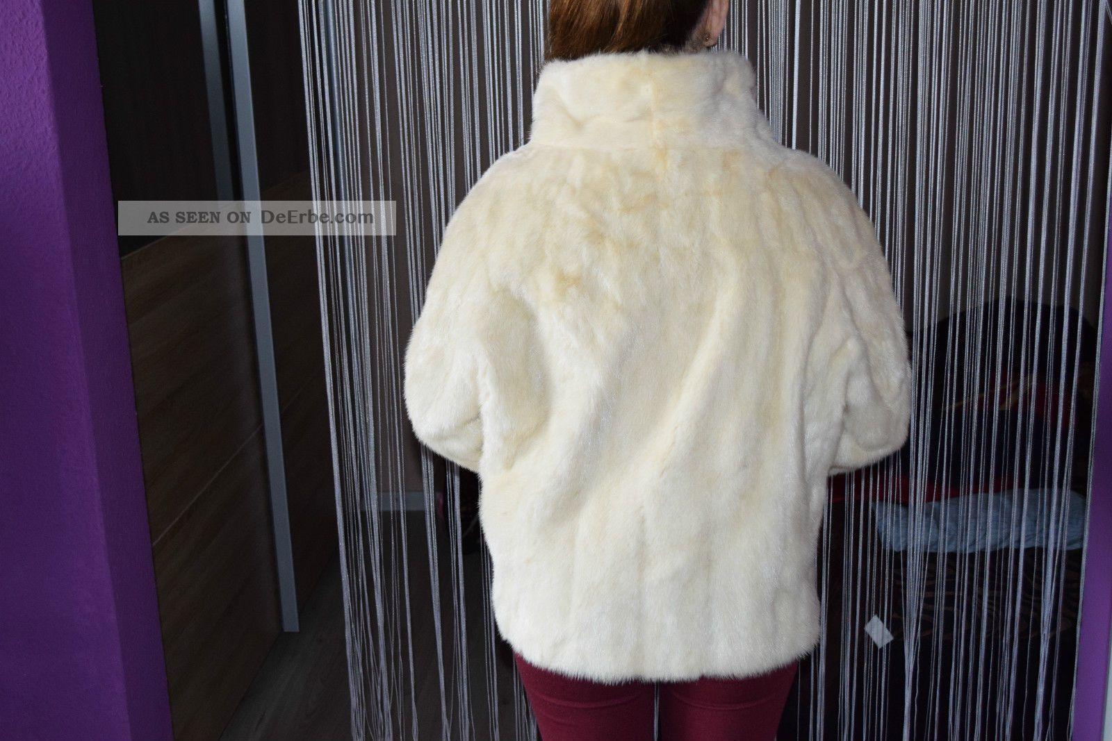 nerz pelz damen winter mantel jacke poncho parka wei creme. Black Bedroom Furniture Sets. Home Design Ideas