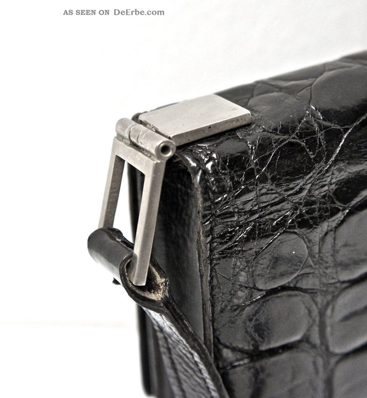 luxus abendhandtasche der 20iger jahre aus leder schwarz chrom art deko paris. Black Bedroom Furniture Sets. Home Design Ideas