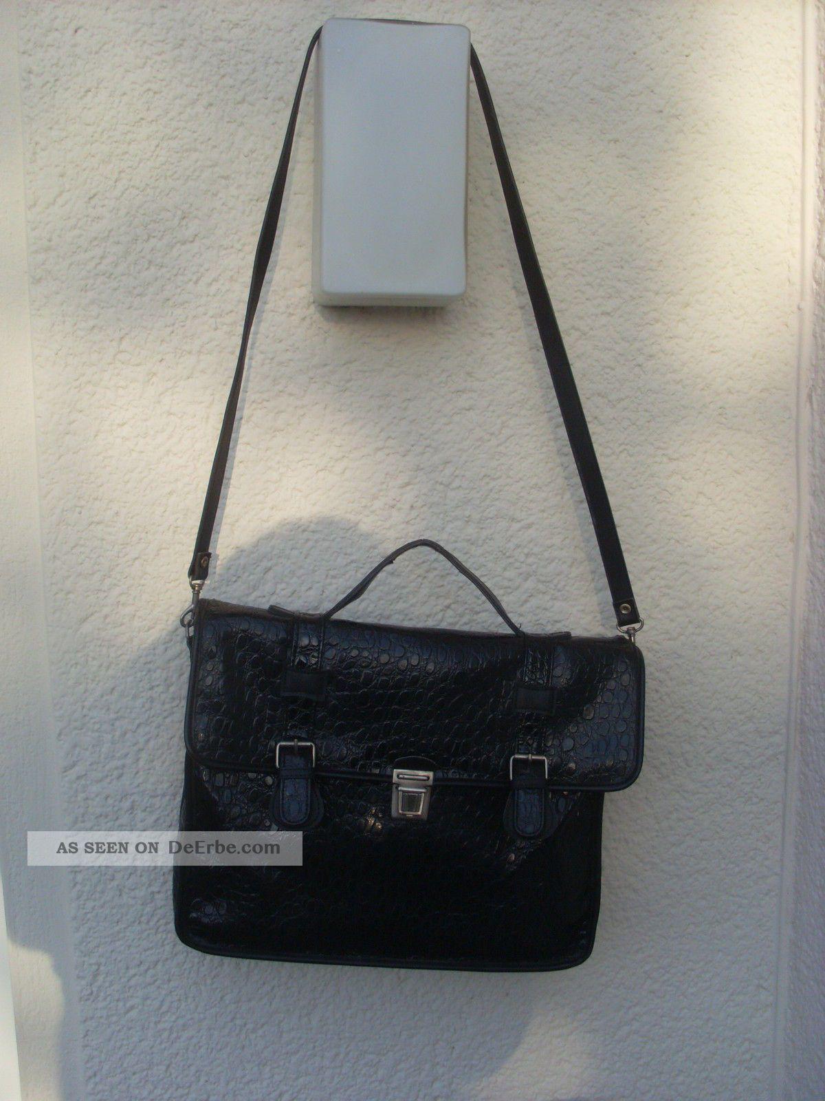 Picard Handtasche Umhangetasche Reptilienoptik Schwarz Vintage 80er