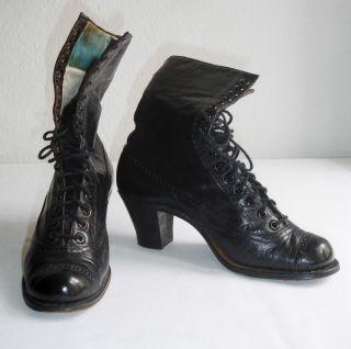 Historische Schuhe Gr.  35,  36,  Jugendstil,  Schwarzes Leder,  Stiefeletten Bild