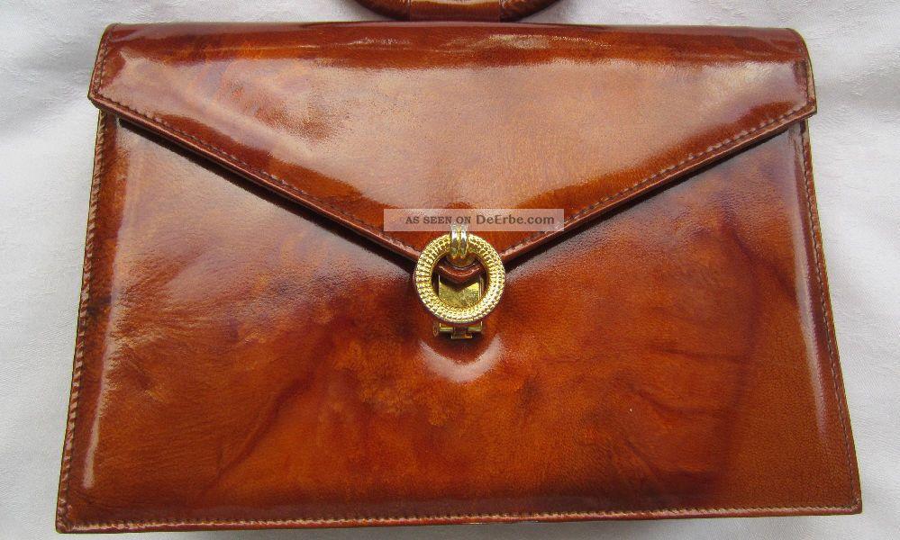 60er Vintage Pierre Tasche Braun Lackleder Cardin Damen Jahre Unbenutzt 76Ybgfyv